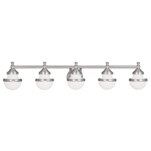 Oldwick Brushed Nickel 45-Inch Five-Light Bath Light