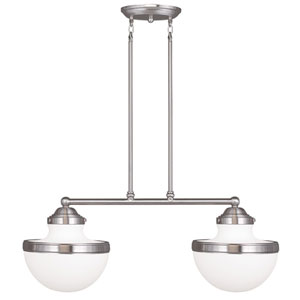 Oldwick Brushed Nickel 10.5-Inch Two-Light Island Pendant