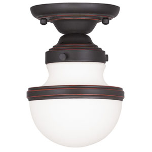 Oldwick Olde Bronze 5.5-Inch One-Light Semi Flush Mount