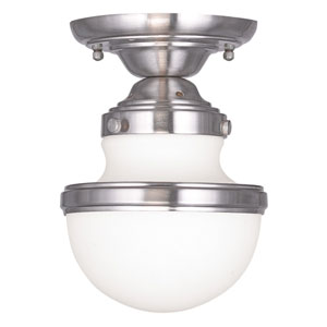 Oldwick Brushed Nickel 5.5-Inch One-Light Semi Flush Mount