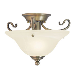 Coronado Antique Brass 13-Inch One-Light Semi Flush Mount