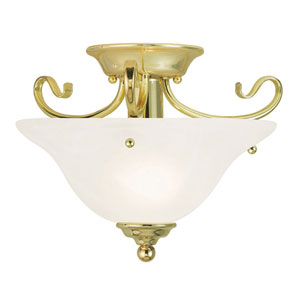 Coronado Polished Brass 13-Inch One-Light Semi Flush Mount