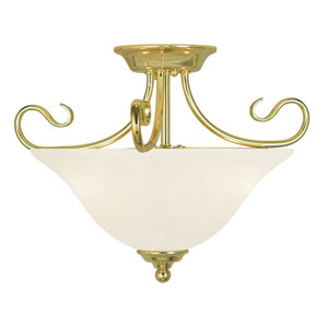 Coronado Polished Brass 15.5-Inch Two-Light Semi Flush Mount