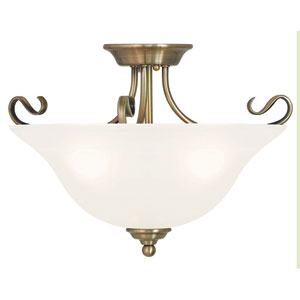 Coronado Antique Brass 19-Inch Three-Light Semi Flush Mount