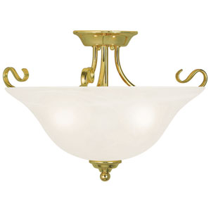 Coronado Polished Brass 19-Inch Three-Light Semi Flush Mount