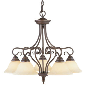 Coronado Bronze Five-Downlight Chandelier