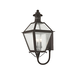 Waldwick Bronze Three-Light 27-Inch Outdoor Wall Lantern
