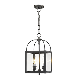 Milford Bronze Two-Light 15-Inch Convertible Pendant with Clear Glass