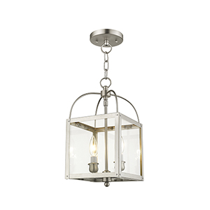 Milford Brushed Nickel Two-Light 15-Inch Convertible Pendant with Clear Glass