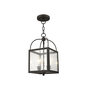 Milford Bronze Two-Light 15-Inch Convertible Pendant with Seeded Glass