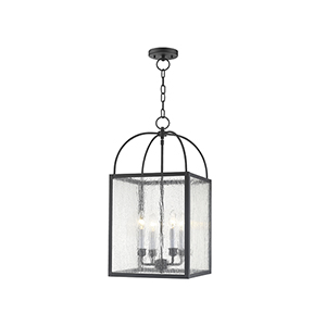 Milford Black Four-Light 13-Inch Pendant with Seeded Glass