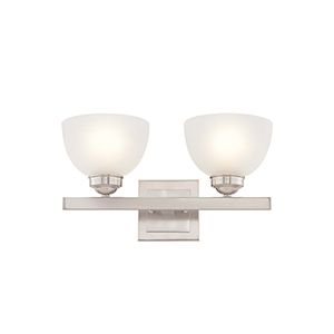 Somerset Brushed Nickel Two-Light 16-Inch Bath Fixture with Satin Glass