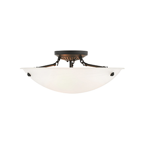 Home Basics Bronze Three-Light 20-Inch Semi Flush Mount with White Alabaster Glass