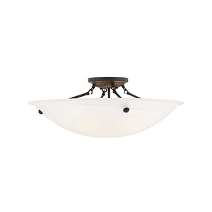 Home Basics Bronze Four-Light 24-Inch Semi Flush Mount with White Alabaster Glass