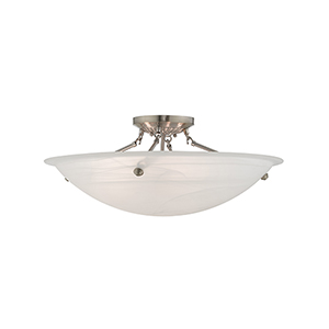 Home Basics Brushed Nickel Four-Light Semi Flush Mount