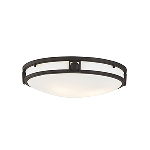 Matrix Bronze Three-Light 16-Inch Semi Flush Mount with Satin Glass