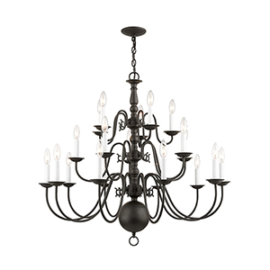 Williamsburgh Bronze Twenty-Light Chandelier