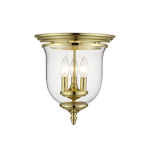Legacy Polished Brass Three-Light Semi Flush Mount