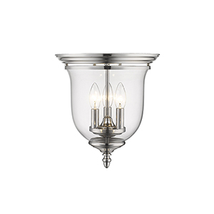 Legacy Polished Nickel Three-Light Semi Flush Mount