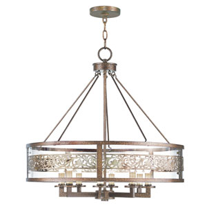 Waverly Palacial Bronze with Gilded Accents Eight-Light Pendant