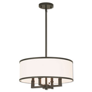 Park Ridge Bronze 18-Inch Four-Light Chandelier with Hand Crafted Off-White Fabric Hardback