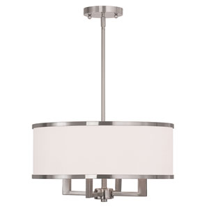 Park Ridge Brushed Nickel 18-Inch Four-Light Drum Pendant