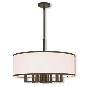 Park Ridge Bronze 24-Inch Seven-Light Chandelier with Hand Crafted Off-White Fabric Hardback