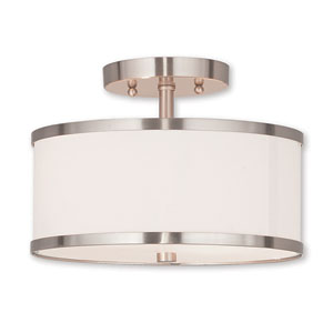 Park Ridge Brushed Nickel Two-Light Semi-Flush Mount