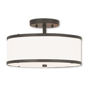 Park Ridge Bronze 13-Inch Two-Light Ceiling Mount with Hand Crafted Off-White Fabric Hardback