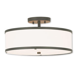 Park Ridge Bronze 15-Inch Three-Light Ceiling Mount with Hand Crafted Off-White Fabric Hardback