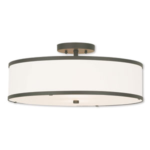 Park Ridge Bronze 18-Inch Three-Light Ceiling Mount with Hand Crafted Off-White Fabric Hardback