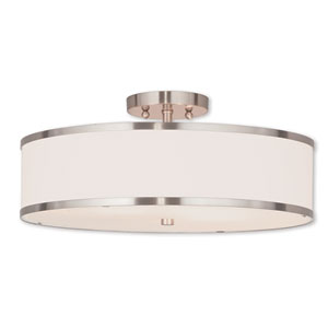 Park Ridge Brushed Nickel 18-Inch Three-Light Ceiling Mount with Hand Crafted Off-White Fabric Hardback