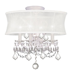 Newcastle White Four-Light Convertible Semi-Flush