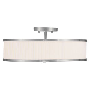Park Ridge Brushed Nickel Three-Light 18-Inch Semi Flush Mount with White Pleated Shade