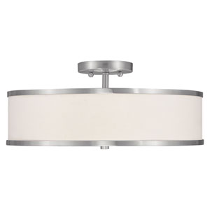 Park Ridge Brushed Nickel Three-Light 18-Inch Semi Flush Mount with White Shade
