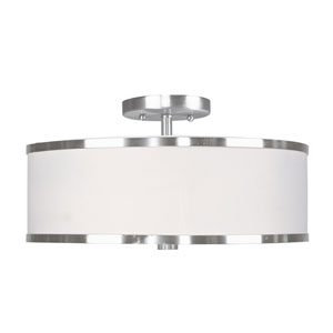 Park Ridge Brushed Nickel Three-Light Semi-Flush