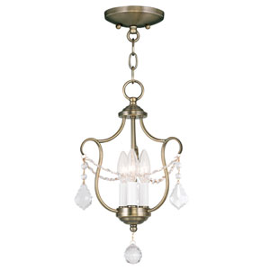 Chesterfield Antique Brass Three Light Convertible Chain Hang and Ceiling Mount