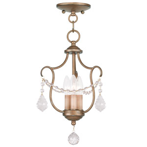 Chesterfield Antique Gold Leaf Three Light Convertible Chain Hang and Ceiling Mount