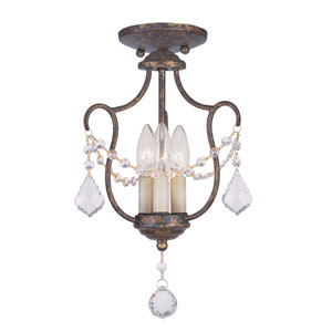 Chesterfield Venetian Golden Bronze Three-Light Convertible Chain Hang/Ceiling Mount