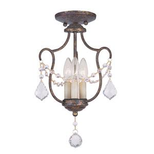 Chesterfield Venetian Golden Bronze Three-Light Convertible Chain Hang/Ceiling Mount