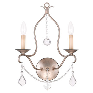 Chesterfield Antique Silver Leaf Two Light Wall Sconce
