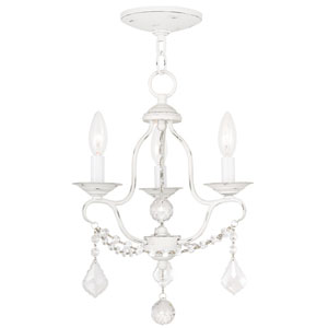 Chesterfield Antique White Three Light Mini Chandelier