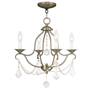 Chesterfield Antique Brass Four Light Chandelier