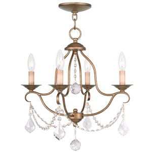 Chesterfield Antique Gold Leaf Four Light Chandelier