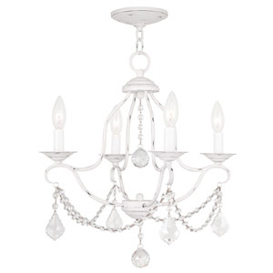 Chesterfield Antique White Four Light Chandelier