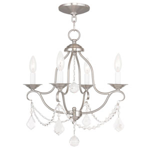 Chesterfield Brushed Nickel Four Light Chandelier