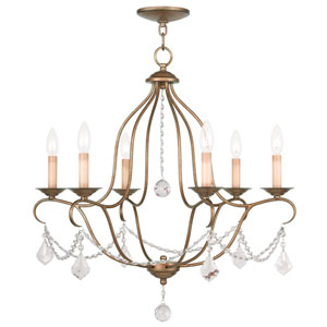 Chesterfield Antique Gold Leaf Six Light Chandelier