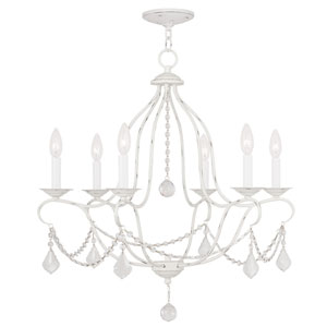Chesterfield Antique White Six Light Chandelier