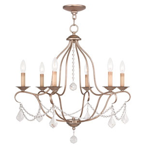 Chesterfield Antique Silver Leaf Six Light Chandelier