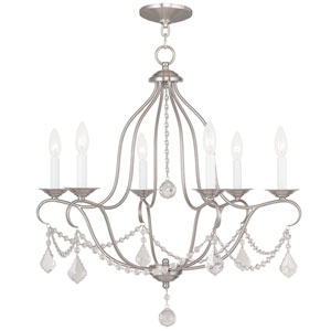 Chesterfield Brushed Nickel Six Light Chandelier